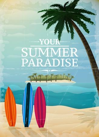 surfing beach: Holiday travel surfing print, tropical paradise island ocean beach illustration
