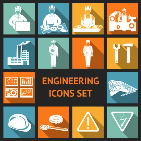 design engineering: Engineering construction and industrial icons set of working industry and equipment symbols illustration Illustration