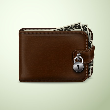 passcode: Classic modern brown leather wallet with dollar banknotes locked with padlock financial security concept illustration