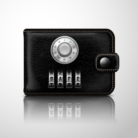 combination safe: Classic modern black leather wallet locked with combination code lock financial security concept illustration