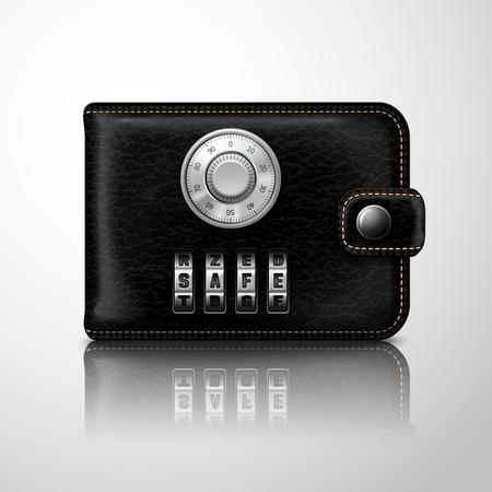 Klassisch-moderne schwarze Ledergeldbörse mit Kombinationsschloss finanzielle Sicherheit Konzept Abbildung gesperrt Illustration