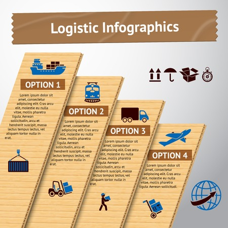 交通機関オプションと配信チェーンの図を持つロジスティック サービス段ボール インフォ グラフィック要素