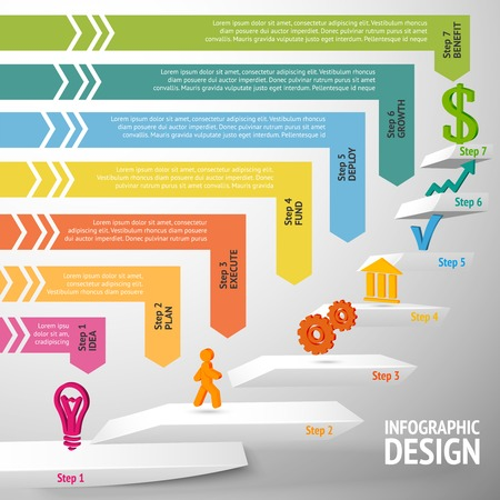execute: Upward direction staircase successful business steps concept infographic illustration