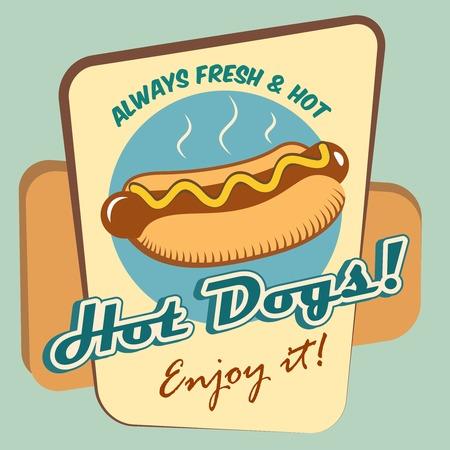 図面のホットドッグ新鮮なファーストフードを楽しむイラスト ポスター テンプレート  イラスト・ベクター素材