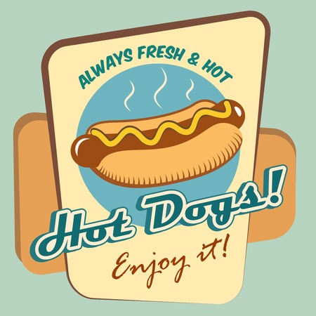 Drawing hot dog fresh fast food enjoy poster template illustration Иллюстрация