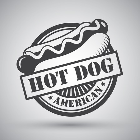 hotdog: American hot dog bread sausage mustard emblem illustration