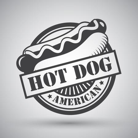 Americano pane hot dog salsiccia senape emblema illustrazione Archivio Fotografico - 27145433