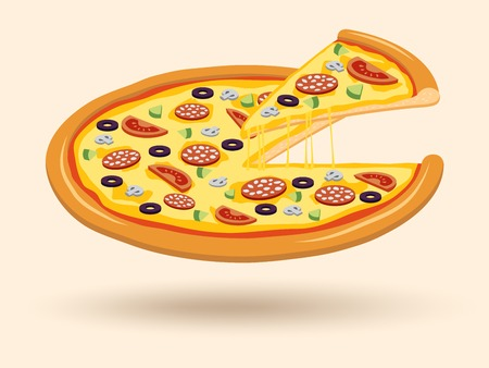 Round hot delicious tasty meat cheese olive tomato mushroom pizza with cut slice emblem illustration