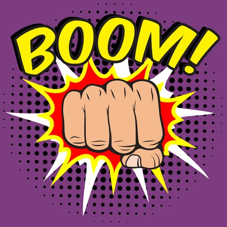 Pop art comic poster with boom clenched hand fist power human hit illustration Vector