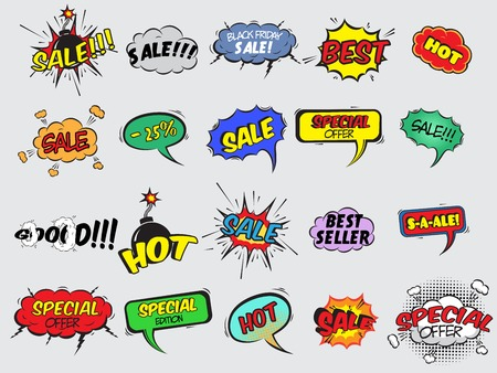 mega: Pop art comic sale discount promotion decorative icons set with bomb explosive isolated illustration Illustration