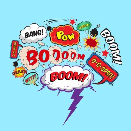 Comic speech bubble design element boom splash bomb symbol illustration Vector