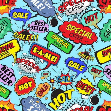 Pop art comic sale seamless pattern with speech bubbles explosions and bombs illustration Vector