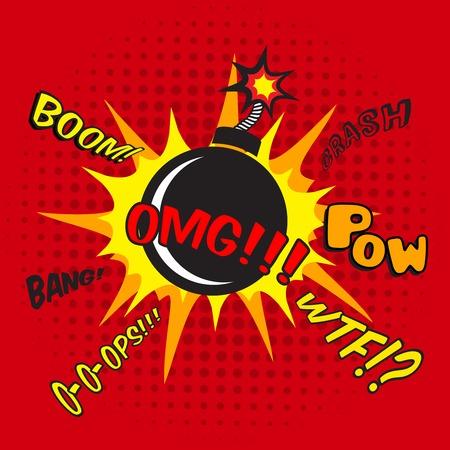 Pop art comic bomexplosie decoratieve halftone affichemalplaatje illustratie