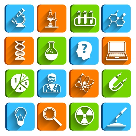 Science laboratory physics chemistry medical technology pharmacy flat icons set illustration Vector