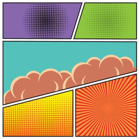 libro caricatura: Comics estilo del arte pop plantilla de dise�o en blanco con las nubes vigas y modelo de puntos de fondo ilustraci�n vectorial Vectores