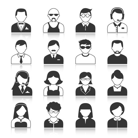black business men: Avatar icons users head black silhouette portrait isolated illustration Illustration