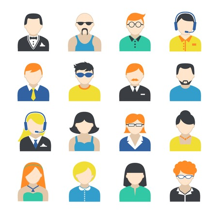 employe: Avatar pictogram social networks users profile icons collection flat isolated on white illustration