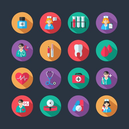 Set of medical healthcare icons and doctor hospital avatars with nurse heart isolated illustration
