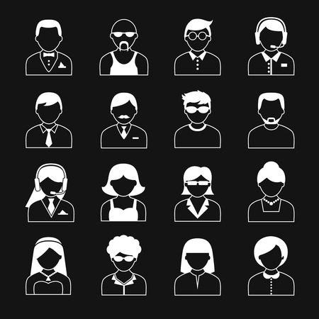 reverse: Avatar icons users head white black reverse color silhouette portrait set isolated illustration Illustration