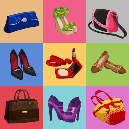Women fashion bags classic shoes and modern accessories collection of decorative icons illustration Vector