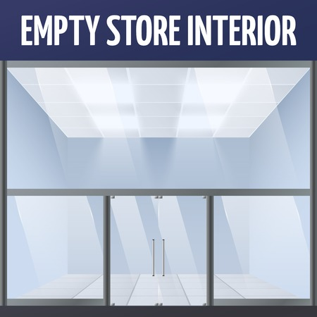 forepart: Illuminated empty supermarket or department warehouse store building interior illustration