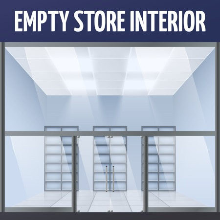 forepart: Illuminated empty department store building interior with shelves illustration