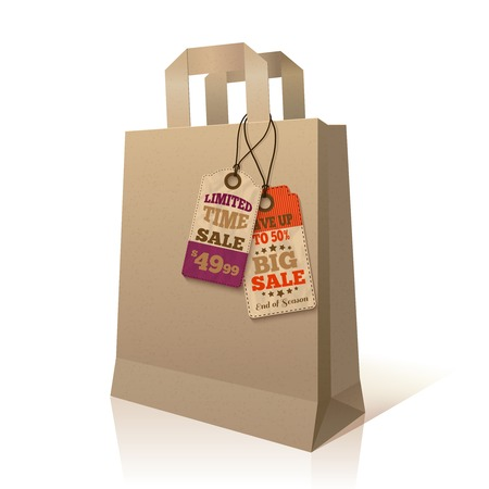Paper sale shopping bag with promotion special price offer tags template isolated vector illustration Vector