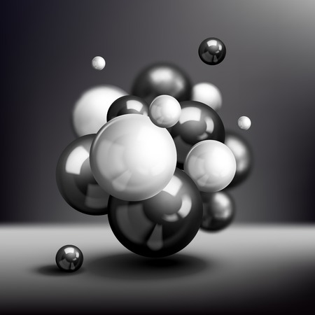 atomic structure: Dark 3d atomic structure molecule model reflected spheres illustration Illustration