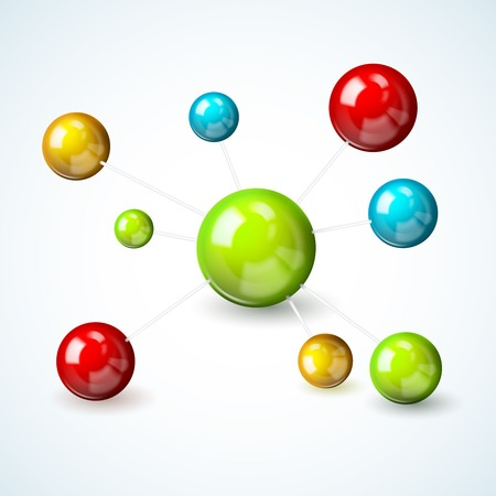 nuclear symbol: 3d scientific molecule model concept with colored atoms illustration Illustration