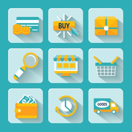 Colored pixel icons set for internet online shopping of delivery box looking glass and money wallet isolated illustration Vector