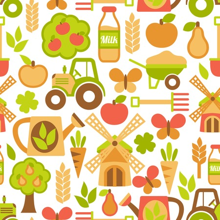 Farming harvesting and agriculture seamless pattern of mill tractor wheelbarrow and spade illustration Vector