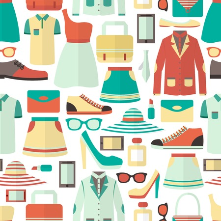 Male and female clothes footwear cosmetics and gadgets shopping seamless pattern illustration Illustration