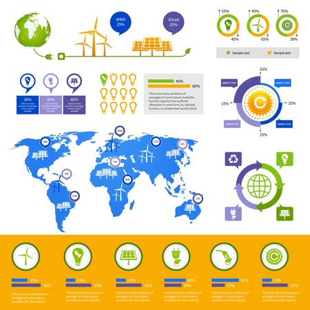 droughts: Energy business info graphics layout design template with world map charts graphs and environment icons illustration Illustration