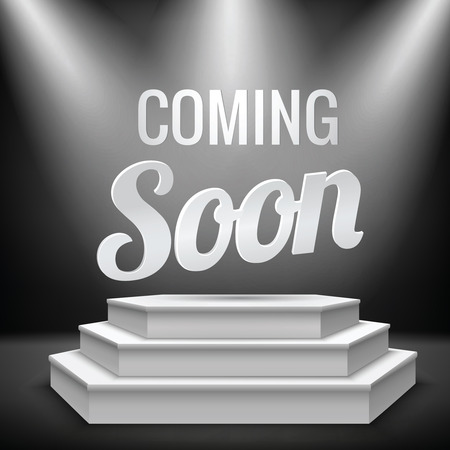Coming soon new product promotion on illuminated with stage light blank podium realistic illustration
