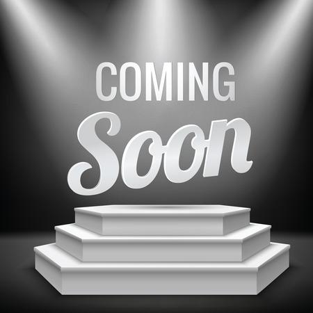 soon: Komende promotie binnenkort nieuw product op verlicht met podium in het licht lege podium realistische illustratie