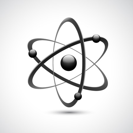 white atom: Atom 3d abstract physics science model symbol illustration