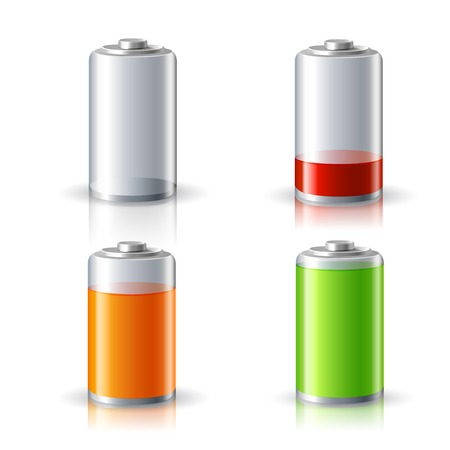Realistic 3d battery icons set with full and low charge status energy level isolated illustration Vector