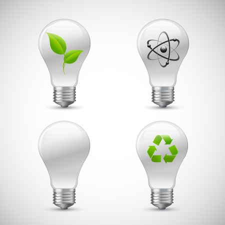 Green bio light bulbs 3d realistic icons set with leaf atom and recycling logo isolated illustration Vector