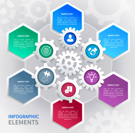 Abstract business paper gear infographics elements template in bee cells pattern illustration