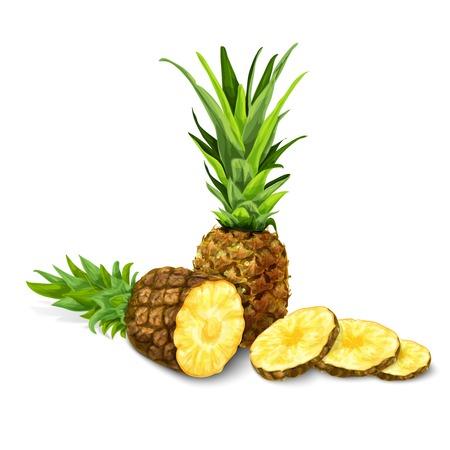 Natuurlijke organische zoete gesneden en gesneden ananas tropische vruchten decoratief poster of embleem geïsoleerde illustratie
