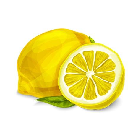 agrio: Corte agria org�nica natural y lim�n en rodajas con la hoja de la fruta tropical cartel decorativo o aislada emblema ilustraci�n