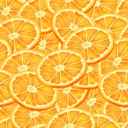 passion ecology: Seamless riped juicy sliced oranges pattern background illustration Illustration