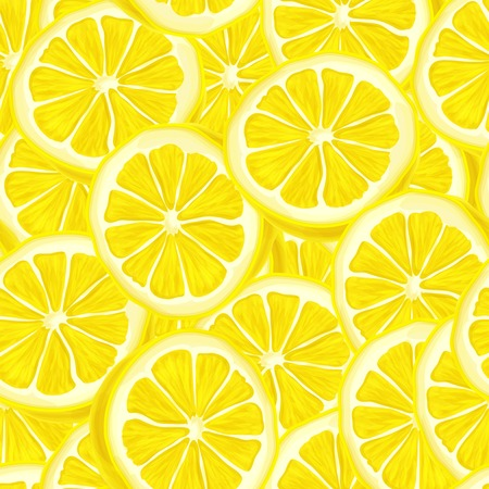Seamless riped juicy sliced lemons pattern background illustration Ilustração