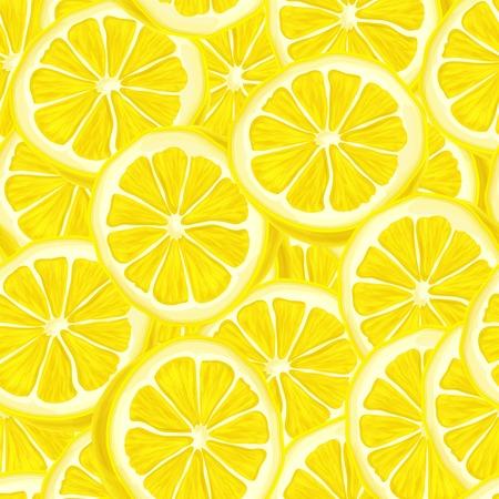 Seamless riped juicy sliced lemons pattern background illustration Illustration