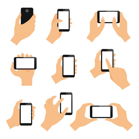 swipe: Touch screen hand gestures design elements of swipe pinch and tap isolated illustration Illustration