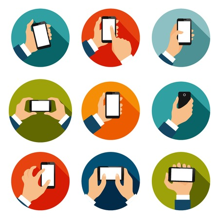pinch: Touch screen hand gestures flat icons set of using mobile interface isolated illustration Illustration