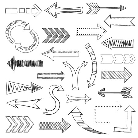 Different directions arrows sketch pencil drawing icons set flat isolated illustration