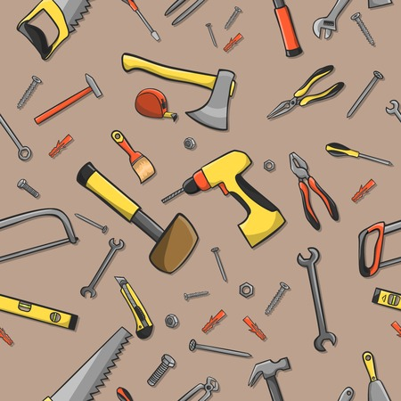 Home construction tools on a seamless brown pattern background illustration