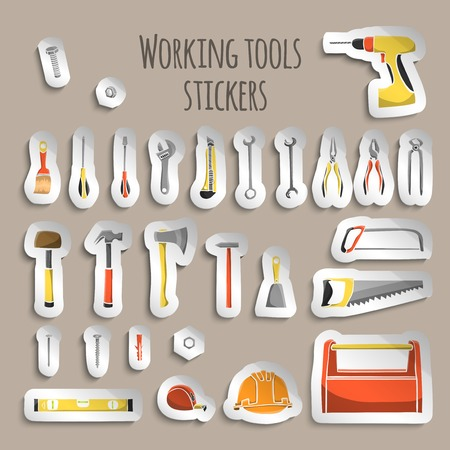 A collection of decorative construction or carpenter tool icons on stickers set illustration Banco de Imagens - 27146516