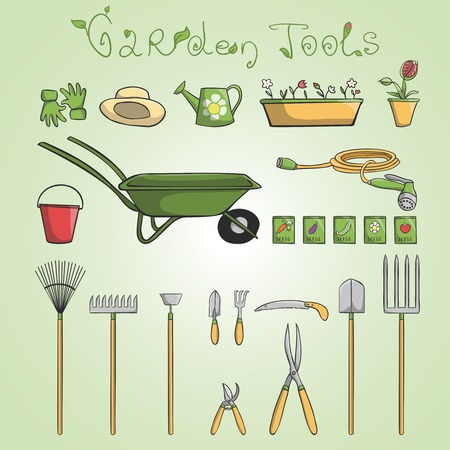 bucket and spade: Collection of garden tools and accessories for cultivating vegetables and flowers cartoon illustration Illustration